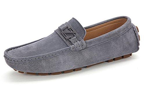 Tda Slip Casual Para Hombre En Piel Mocasines De Conducción De Negocios Zapatos De Barco Gris