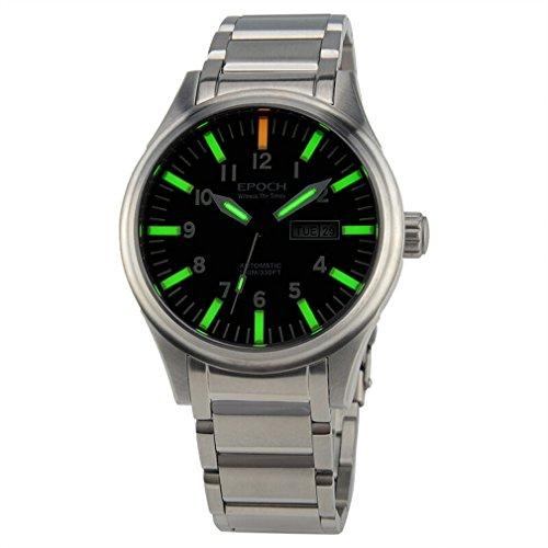 EPOCH 7016G steel strap waterproof 100m tritium green luminous steel strap mens business mechanical watch - Silver