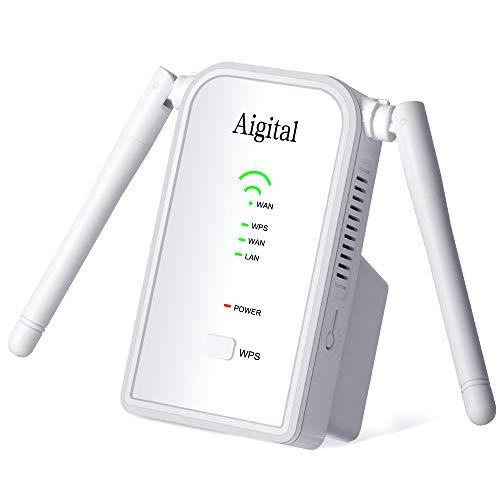 🥇 Repetidor de WiFi 300Mbps en 2.4GHz WiFi Extensor Amplificador Largo Alcance Modo Punto de Acceso/Repeater/Router con on 2 Antenas Externo