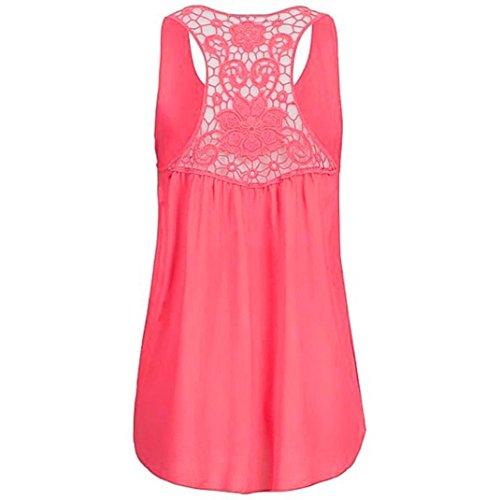 Summer Sleeveless Chiffon Top,kaifongfu Women Tunics Blouse T Shirts Hem Scoop Top(Orange,M) -