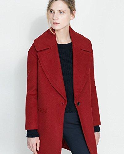 Zara precioso macetero rojo tamaño de la funda de abrigo de lana con pantalla grande solapas: EXTRA-SMALL: Amazon.es: Ropa y accesorios