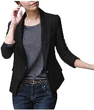 Women's Single Button Suit Jacket Long Sleeve Solid Color Business Suit Cardigan Jacket Blazer K