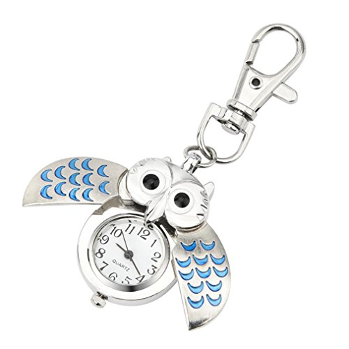 Fashion Gorgeous Mini Key Ring Owl Quartz Watch Clock Clip Pocket Keychain (Lime Quartz Pendant)