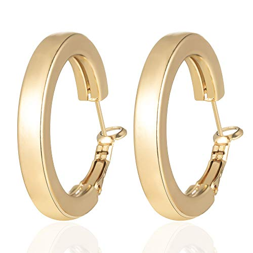 - Fashion Hoop Earrings 14K Gold Plated Square Tube Thick Hoop Earrings for Women Girls