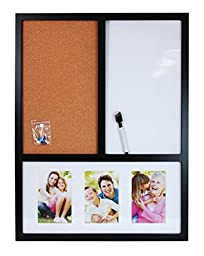 nexxt Message Cork Board With Magnetic White Board and Photo Combo Solid Wood Frame, 18 by 25-Inch, Matted Collage for 3-4 by 6-Inch Photo Frames, With Marker, Black