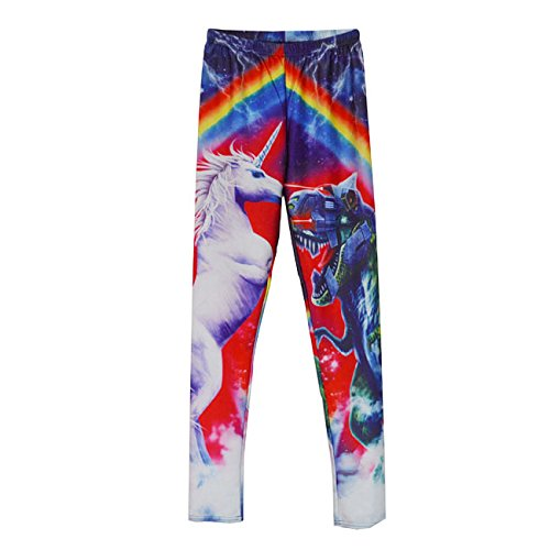(H.coosy practical;cozy digital printing rainbow unicorn tight leggings black milk eBay explosion section Photo Color L)