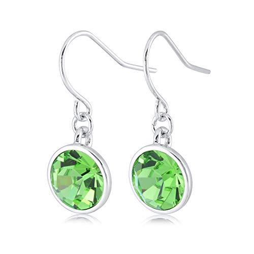 UPSERA Light Green Drop Dangle Earrings for Women Girls Crystals from Swarovski Silver Tone Plated Earrings Jewelry ()
