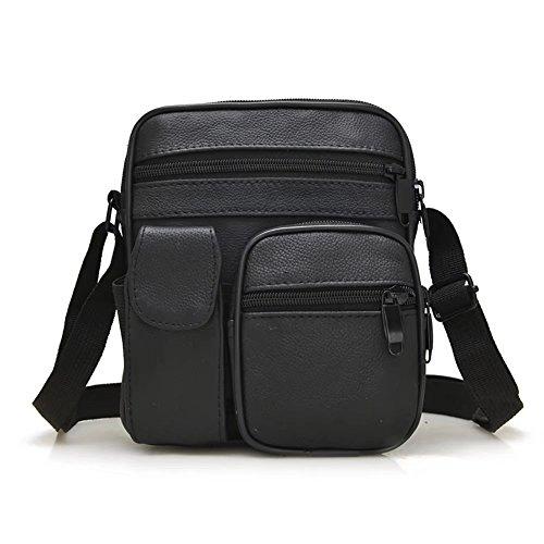 (Men`s Genuine Goat Black Leather Shoulder Messenger Bag Briefcase Purse Crossbody Sling Bag)