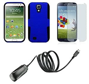 Bloutina Samsung Galaxy S4 - Accessory Kit - Blue / Black Perforated Net Case + Atom LED Keychain Light + Screen Protector...
