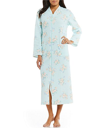 Miss Elaine Women's Quilted Knit Long Zip Front Robe (Peach/Aqua, - Elaine Miss Zip Front