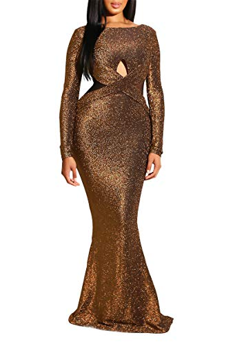 Remelon Women Long Sleeve Shiny Glitter Mesh Cut Out Bodycon Flowy Mermaid Party Maxi Long Dresses Brown - Dresses Cut Prom Out