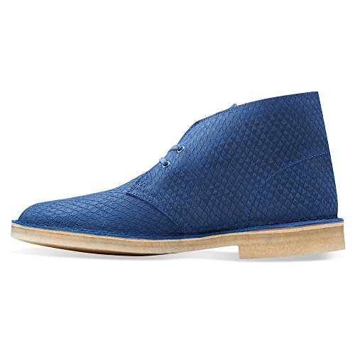 Clarks Originali Mens Desert Boot Blu In Pelle Di Serpente