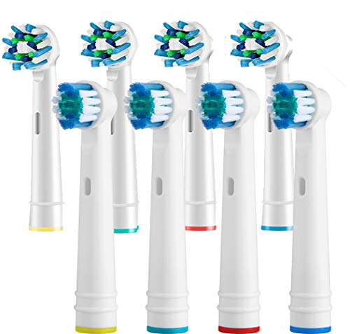 (Replacement Toothbrush Heads Refill for Oral b Electric Toothbrush Pro 1000 Pro 3000 Pro 5000 Pro 7000 Vitality Precision Clean Heads Plus Cross Action Heads 8 Count)