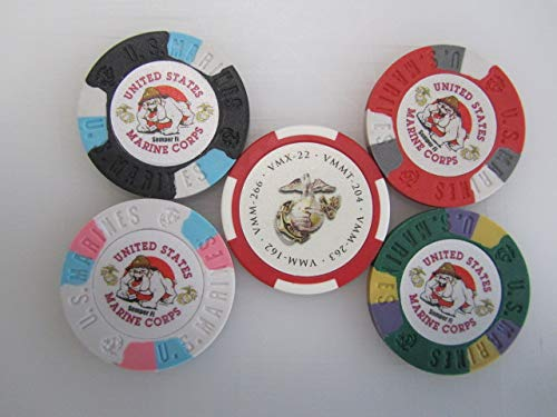 (SuperSigns 5 US Marine Corps Poker Casino Chip Lot + Free U.S.A. Flag & Logo Decal United States of America American Golf Ball Markers)