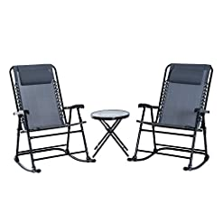 Garden and Outdoor Outsunny 3 Piece Outdoor Rocking Bistro Set, Patio Folding Chair Table Set, Grey