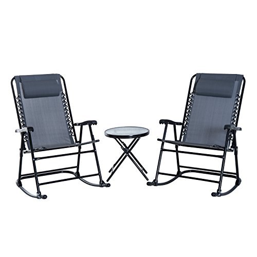 Outsunny 3 Piece Folding Rocking Chair Patio Dining Table Set- -