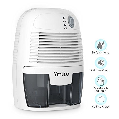 Ymiko Dehumidifiers for Home, Small Electric Dehumidifier W/Auto Shut Off-Effective up to 1200 Cubic Feet-Mini Dehumidifier for Basement, Bedroom, Kitchen, Bathroom, Caravan and Closet