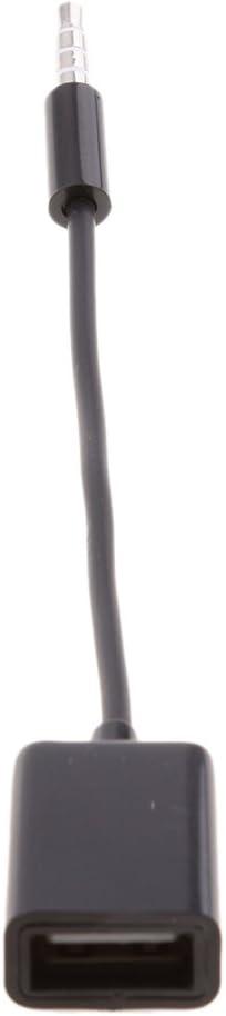 Almencla 3.5mm 1//8inch AUX Audio Cable Jack To USB2.0 Female Converter Car MP3 Cord Extension Line Black