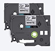 """Brother Genuine P-touch, TZE2312PK, 1/2"""" (0.47"""") Standard Laminated P-Touch Tape, Black on White, La"""
