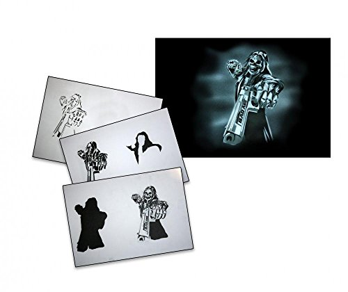 UMR-Design AS-080 Bad Ass Airbrush Stencil Template Step Step Size M -