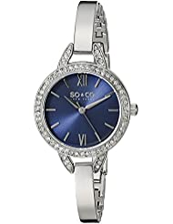 SO&CO New York Womens 5088.2 SoHo Quartz Crystal Accent Blue Dial Stainless Steel Bangle Watch