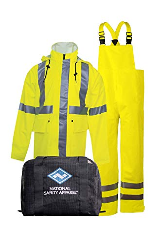 National Safety Apparel KITRLC3LG 3 Piece Arc Rated Rainwear Jacket, Bib Pant and Mesh Gear Bag Kit, Class 3, Large, Fluorescent Yellow ()