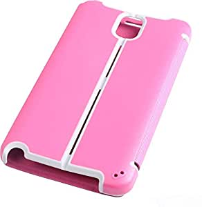Two Tone PU Leather Flip Case for Samsung Galaxy Note 3 Pink