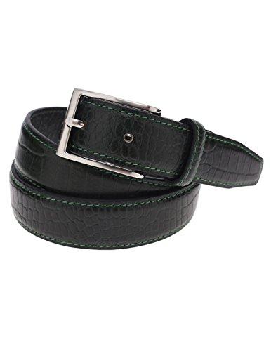 Cotton Embossed Belt (FLATSEVEN Mens Genuine Leather Crocodile Skin Embossed Silver Buckle Classic Belt (Y409),)