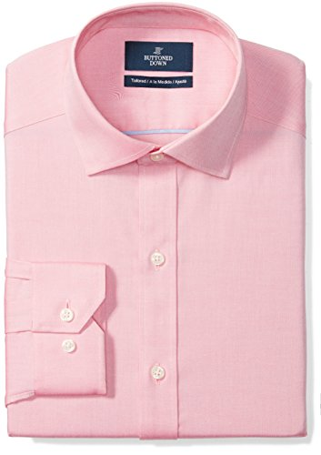 (BUTTONED DOWN Men's Tailored Fit Spread-Collar Solid Non-Iron Dress Shirt (No Pocket), Pink, 15