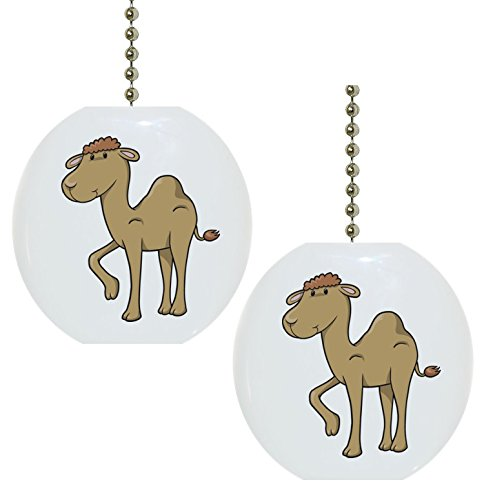 Set of 2 Baby Camel Animal Solid Ceramic Fan Pulls