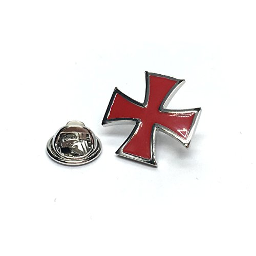 Red Maltese Cross Lapel Pin Badge