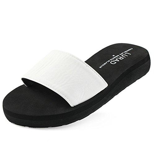 de Blanco de Antideslizante Sandalias Tacón EU40 de Color Pendiente Ocio Medio Damas densa de Verano Marea de Verano Remolque Zapatos Zapatillas Femeninos Suela Tamaño de Plataforma qpwgFaw