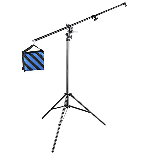 Neewer Photo Studio 13 feet/3.9 meters 2-in-1 Light Stand with 74.8-inch Boom Arm and Blue Sandbag for Supporting Softbox Studio Flash for Video Portrait Photography, Aluminum Alloy (Empty Sandbag) from Neewer