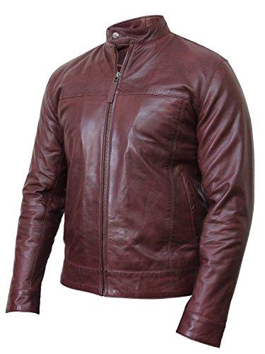 Del Piega Stile In Retro Di Giacca Da Biker Pelle Sguardo Borgogna Brandslock Vintage Motociclista Uomo 78PHwqxR