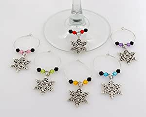Snowflake Wine Glass Charms - 6 Piece Cocktail Drink Charm Set in Black Velour Gift Pouch