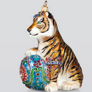 Jay Strongwater Tiger Glass Ornament