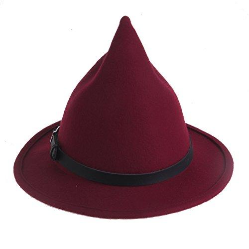Prefe Women's 100% Wool Belt Fedora Witch Hat Halloween Costume Accessory (Wine Red)