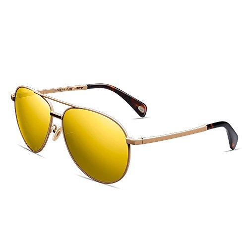 Color Frame Gafas Oro UV Oro Unisex sol Hombres polarizados Anti Metal gafas de de sol qwq7HCU