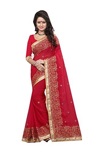 Da Facioun Indian Sarees For Women Wedding Designer Party Wear Traditional Red Sari by Da Facioun