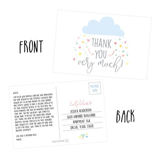 50 4x6 Rain Clouds Blank Thank You Postcards Bulk, Cute Modern Baby Shower Sprinkle Rainbow Showered With Love Thank You Note Card Stationery For Wedding Bridesmaid Bridal, Religious, Holiday Photo #2