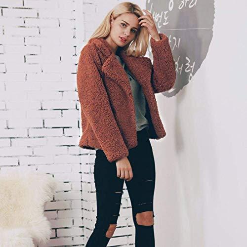Manches Spcial Jacken Mode Fourrure Revers Manteau Caf Warm Vintage Hiver Style Dsinvolte en Fourrure Coat Femme Unicolore Longues Art Blouson Hiver paissir Veste Fourrure Automne wTfq8w