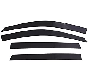 Auto Ventshade 894044 Low Profile Dark Smoke Ventvisor Side Window Deflector, 4-Piece Set for 2015-2018 Ford F-150, 2017-2018 Raptor & F-250 to F-450 Super Duty with SuperCrew Cab