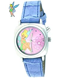 Tinker Bell Musical Watch with Silver Color Case, Pink Dial & Blue Leather Band