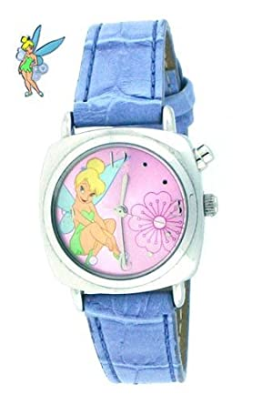 Disney Tinker Bell Musical Watch with Silver Color Case, Pink Dial & Blue Leather Band