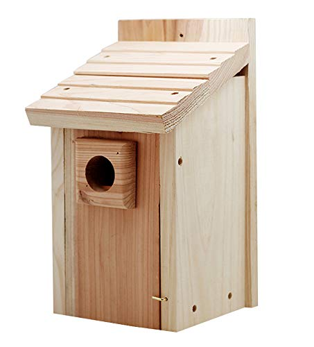 (ModeWing Bluebird House, Classic Nest Box, Natural Pine Wood Bird House, Birdhouses for Outdoors Hanging)