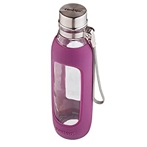 Contigo Purity Glass Water Bottle, 20 oz, Radiant Orchid