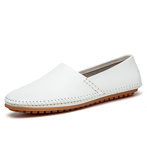 on Moccasins Fisca Men's Slip Casual Shoes Boat Loafer Driver White Flat Leather HqXBx5AwX