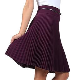 Sakkas FV3543 Knee Length Pleated A-Line Skirt with Skinny Belt - Purple / X-Large