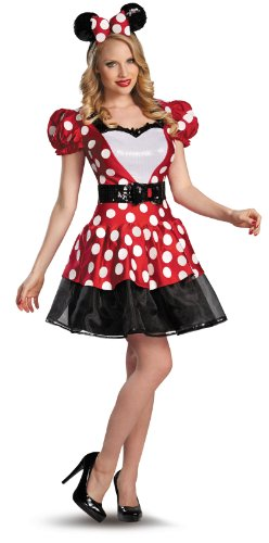 Disguise Women's Disney Mickey Mouse Glam Minnie Costume, Red/White/Black, Large/12-14