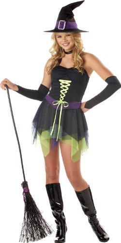California Costumes Women's Sassy Witch Costume, Black/Purple/Green,11-13 (Teen Deluxe Witch Costume)